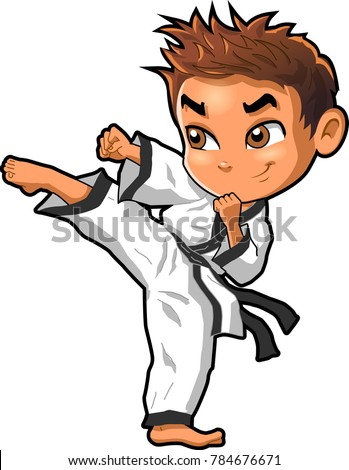 Karate martial arts tae kwon do dojo vector clipart cartoon Boy Kick
