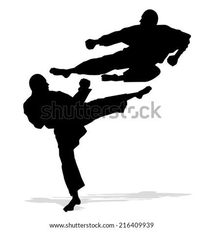 karate men silhouette