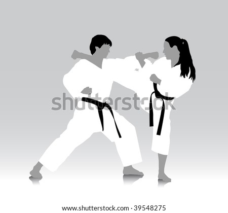 Karate silhouette drawing, vector file in AI and EPS format, all parts closed, editing is possible
