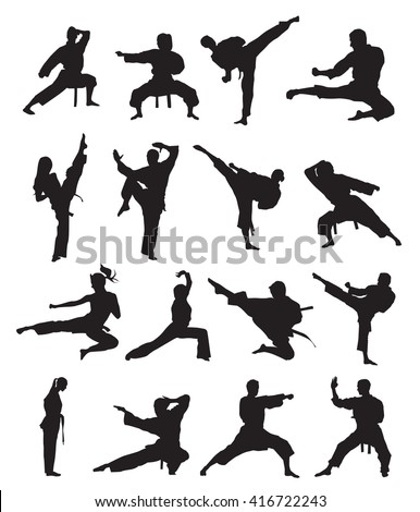 karate silhouette set  karate