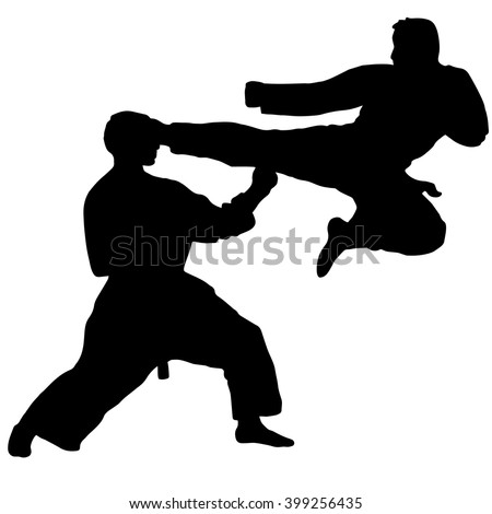 Two fighters in ring vector silhouette… Stock Photo 295312415
