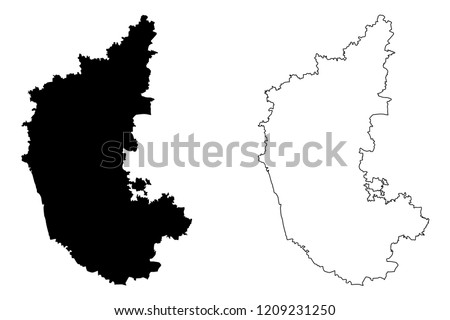 Karnataka (States and union territories of India, Federated states, Republic of India) map vector illustration, scribble sketch Karnataka state map