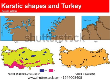 Karst fields and glaciers form and karst areas in Turkey
