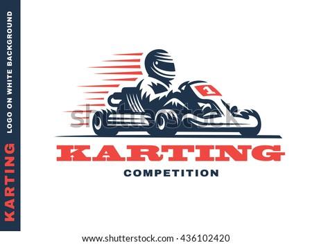 Kart racing winner, logo illustration on a white background