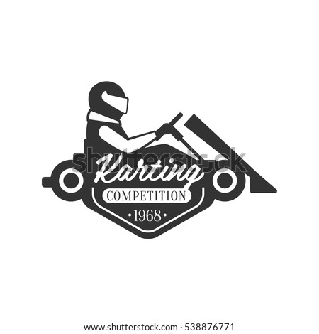 Karting Club Event Promo Black And White Logo Design Template With Rider In Kart Silhouette