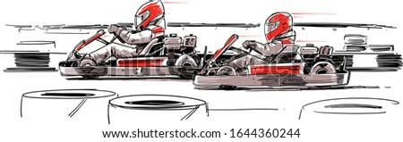 Karting competition. Go-Kart Racers. Vector Illustration Zdjęcia stock ©
