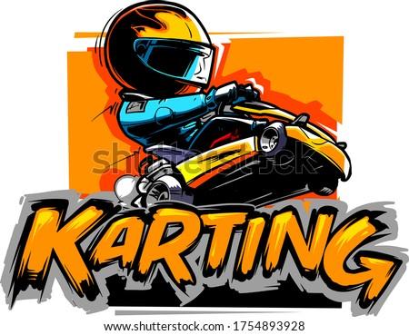 Karting Logotype. Go Kart Racer isolated on white. Zdjęcia stock ©