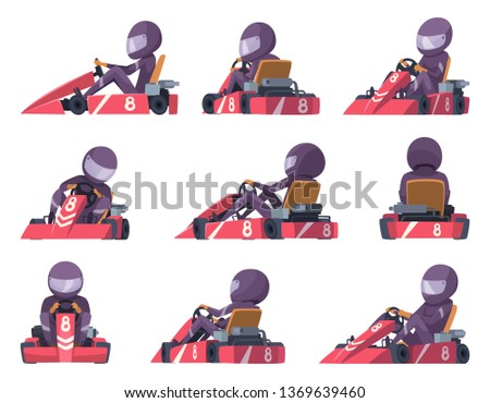 Karting racers. Sport speed cars competition vector karting automobile illustrations