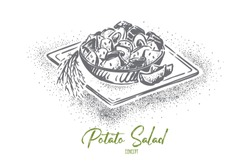 Kartoffelsalat or potato salad, traditional german food with mayonnaise dressing, delicious vegetarian meal. National austrian dish, homemade dinner concept sketch. Hand drawn vector illustration