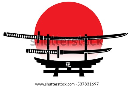 katana icon in monochrome style