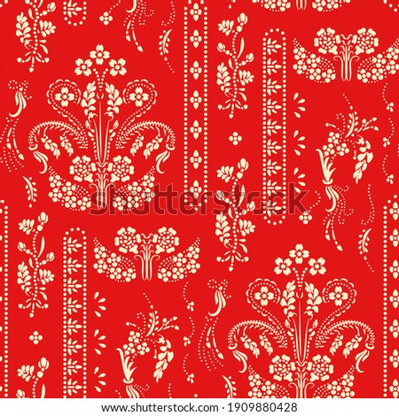 Katazome floral seamless border. Traditional Japanese technique using a katagami stencil. Oriental ornamental pattern. Shiboriarranged in small dots to form a flower branch border design.