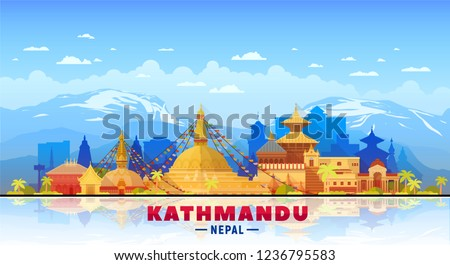 Kathmandu Nepal skyline with panorama in sky background. Vector Illustration. Business travel and tourism concept with modern buildings. Image for banner or web site.