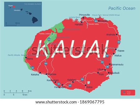 Kauai island detailed editable map with cities and towns, geographic sites, roads, interstates and U.S. highways. Vector EPS-10 file, trending color scheme Stock photo ©