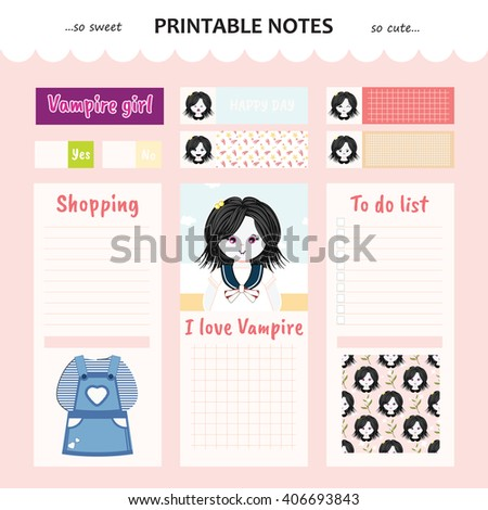 kawaii and cute set vector