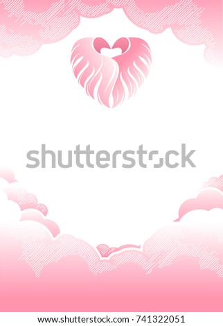 kawaii background with clouds