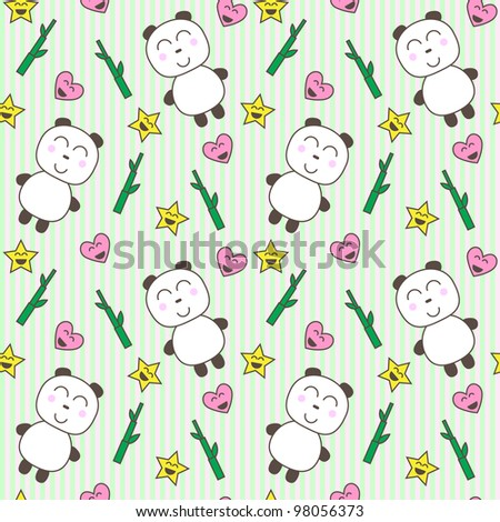 stock vector : Kawaii background with cute pandas