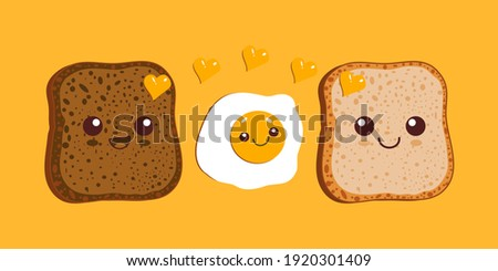 Kawaii breakfast. Slices of bread and fried egg isolated on yellow background. Vector illustration.