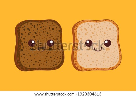 Kawaii breakfast. Slices of bread isolated on yellow background. Vector illustration.