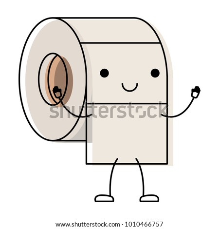 kawaii cartoon toilet paper roll in colorful watercolor silhouette