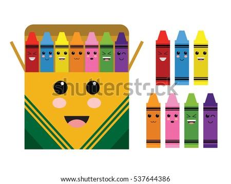 Kawaii Cute Color Crayon Box School Supplies