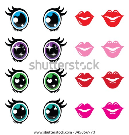 kawaii cute eyes and lips icons
