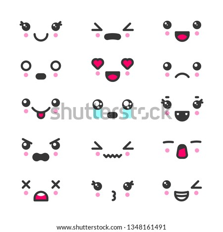 kawaii cute faces emoticons