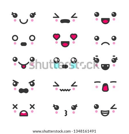 kawaii cute faces emoticons