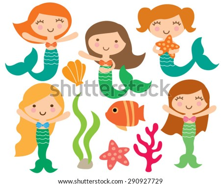 kawaii cute girl mermaids under