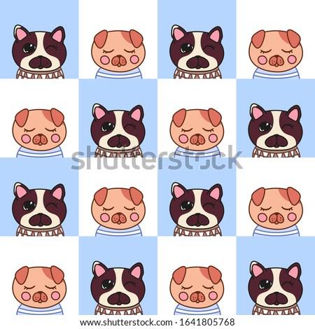 kawaii doodle puppies seamless