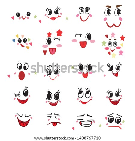 Kawaii emoticon vector cartoon character emotions with facial expression illustration emotional set of Japanese emoticons with different emotional feelings isolated on white background