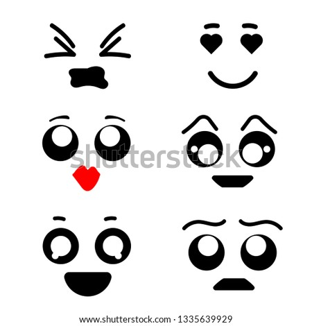 Kawaii emoticon vector cartoon emotion character with face expression illustration emotional set of japanese emoji with different emotive feelings isolated on white background
