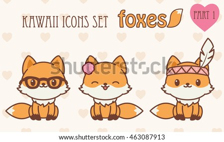 Kawaii foxes icons set. Vector illustration of cute animals. Part 1