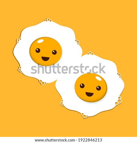 Kawaii fried eggs on yellow background. Vector illustration.