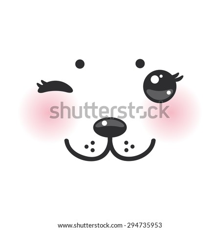 Kawaii funny albino animal white muzzle with pink cheeks and winking eyes. Vector