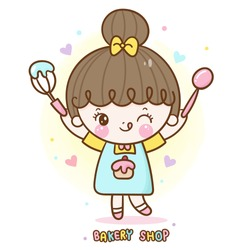 Kawaii girl vector cute bakery shop food logo cartoon for kid dessert birthday cake: Series Sweet Chef cooking, Girly doodle. Magic character on white background illustration. Perfect design fashion.