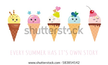 Kawaii ice cream cone characters. Cute cartoons isolated on white.