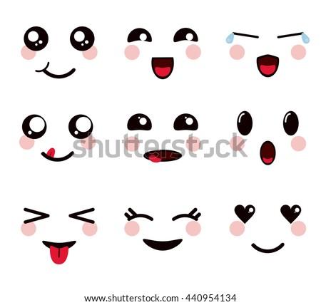 kawaii icon set of cartoon