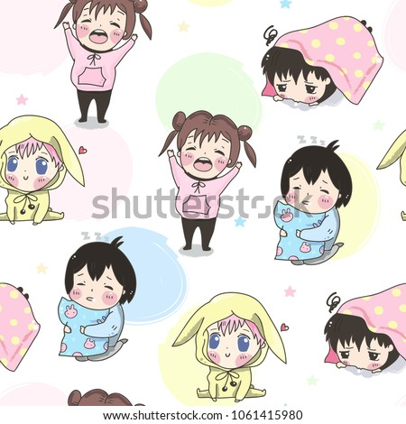 kawaii kids hand drawn vector