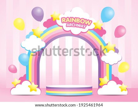 kawaii pastel rainbow archway and rainbow striped display podium 3d illustration vector with cute clouds and stars and balloons element on girly pink background.