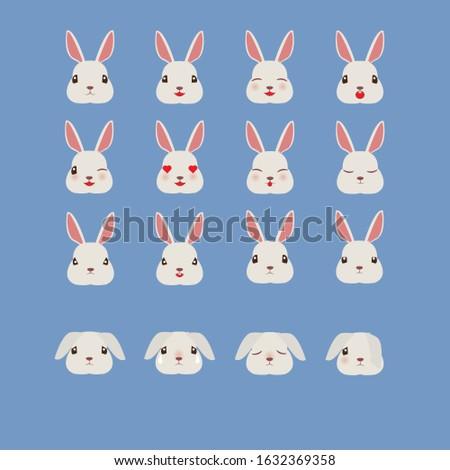 kawaii rabbit emotions  cute
