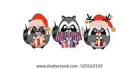 kawaii raccoons in christmas