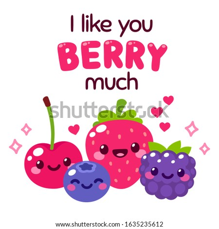 kawaii smiling berries with