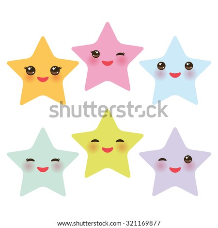 kawaii stars set  face with