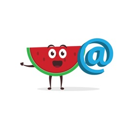 Kawaii vector illustration character cartoon cute fruit watermelon mascot holding at email icon 3d in white background modern flat design brand
