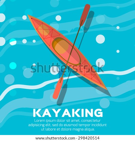 Kayak and paddle. Vector illustration of Outdoor activities elements - kayak and rowing oar. Orange kayak isolated, sea kayak