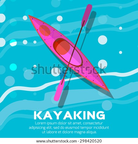 Kayak and paddle. Vector illustration of Outdoor activities elements - kayak and rowing oar. Pink kayak isolated, sea kayak