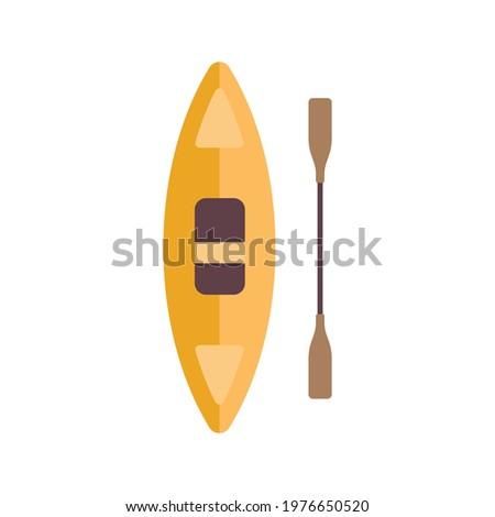 Kayak with paddle. Flat vector illustration isolated on white background. Exteme sport equipment. Rafting and kayaking Stock photo ©