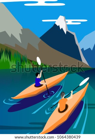 kayakers float on the lake
