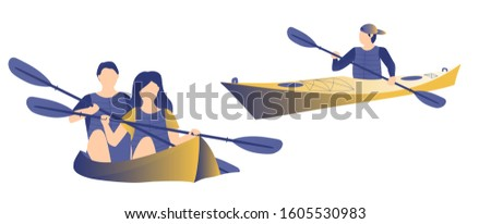 Kayakers swimming in the kayak on white isolated background. Happy couple making outdoor sport. Outdoor sport, travel or outdoor activity concept. Yellow and blue color. Flat vector illustration