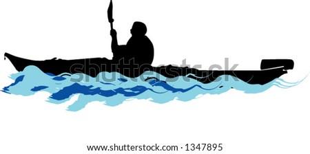 kayaking - stock vector